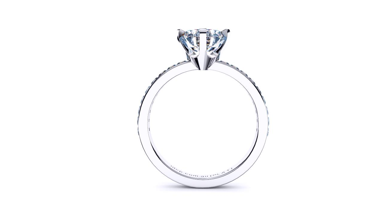Perth diamonds engagement ring round solitaire with princess cut band front view