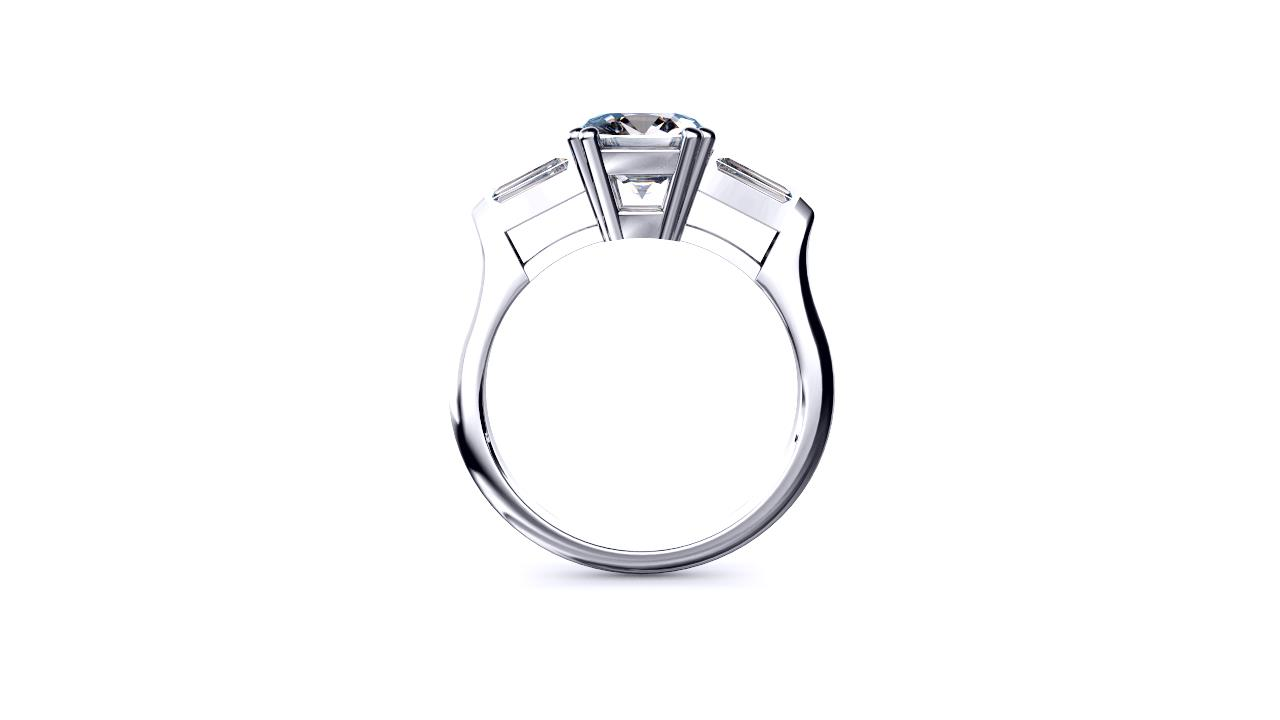 Perth diamonds engagement ring three stone cushion cut with tapered baguettes side view