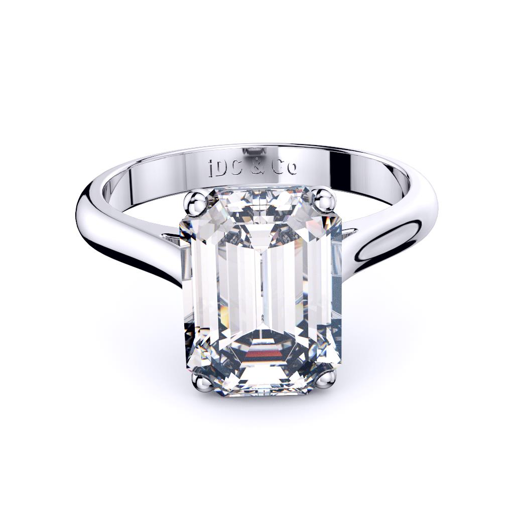 Perth Diamond company 4 claw emerald cut solitaire engagement ring