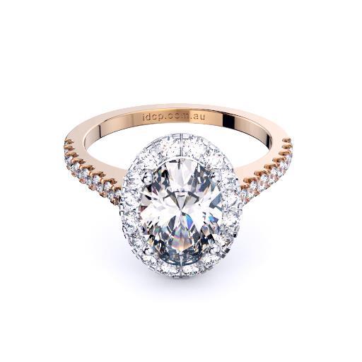 Perth diamond company halo oval diamond ring front page view