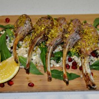 Pistachio and Parmesan Crusted Dorper Lamb Cutlets with Pearl Cous Cous Salad
