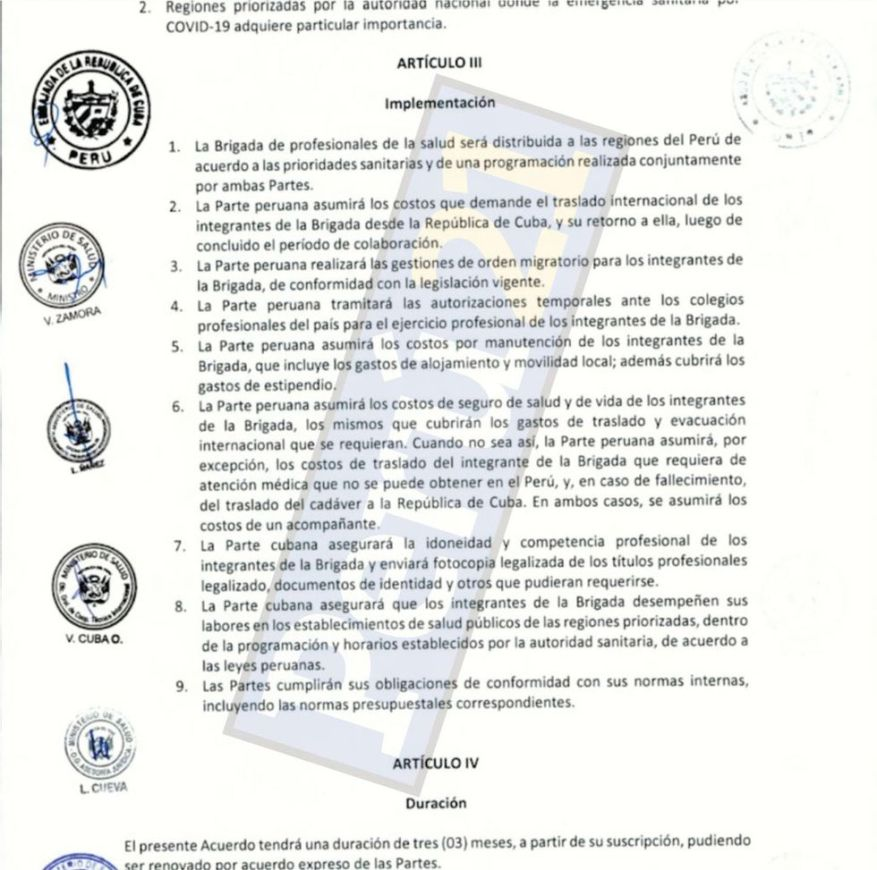Agreement of the Minsa with the Cuban government.