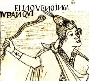Pachacutec utilizando una huaraca u honda (dibujo del siglo XIV).