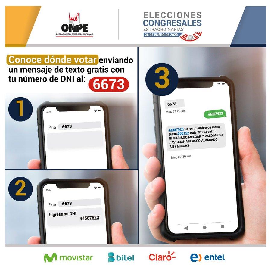 Dónde voto SMS ONPE