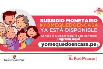 Bono 380 soles Perú subsidio