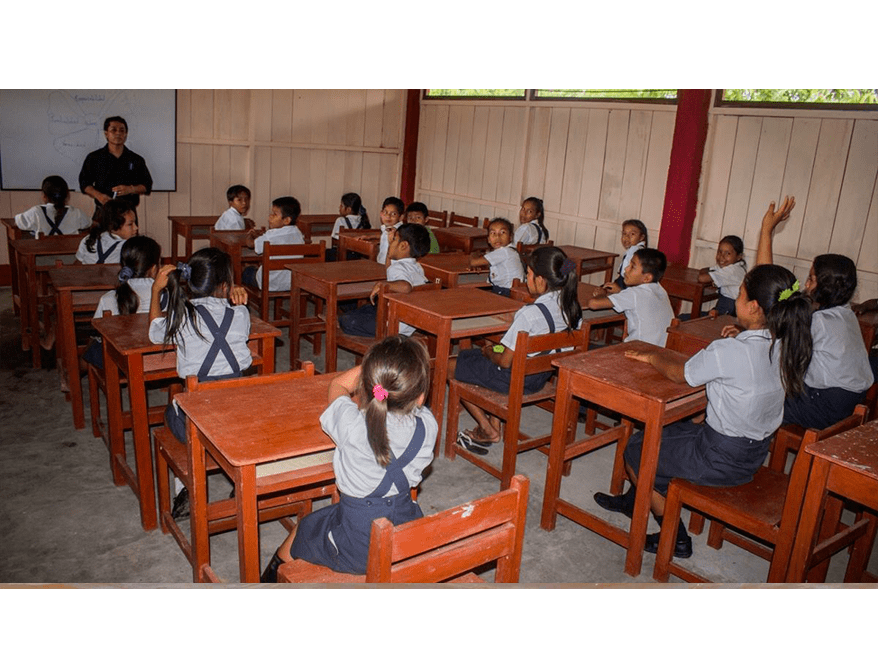 photo of local children in classroom built by Amazonia Volunteers
