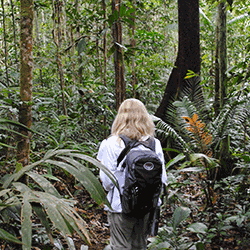 Girl hiking into the rainforest with near Tahuayo Lodge