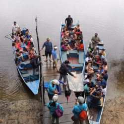 large school group returning to Tahuayo Lodge in 3 boats