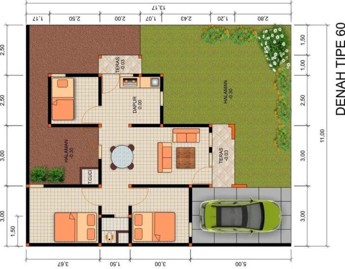 denah rumah type 60 dengan taman depan dan belakang