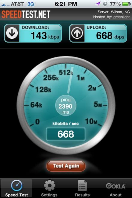 iPhone speedtest.net screen cap at home 143kbs Down 668 up