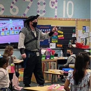 Pirate teacher instructs class