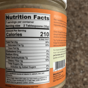 A closeup of the Perfect Keto Nut Butter nutrition facts