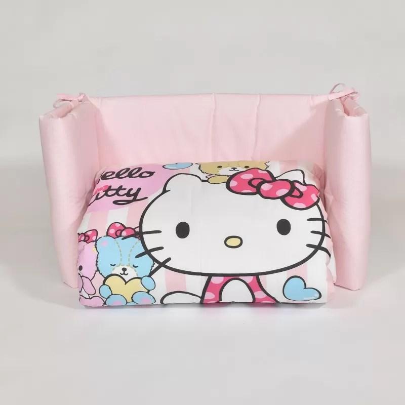 Balza lenzuolo con motivo piazzato. Little Friends Trapunta E Paracolpi Lettino Hello Kitty By Gabel