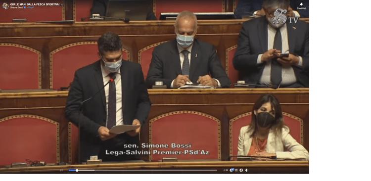 Intervento al senato dei Deputati di un politico in merito alla pesca sportiva