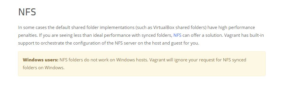 How to speed up Vagrant on Windows 10 using NFS | Peshmerge