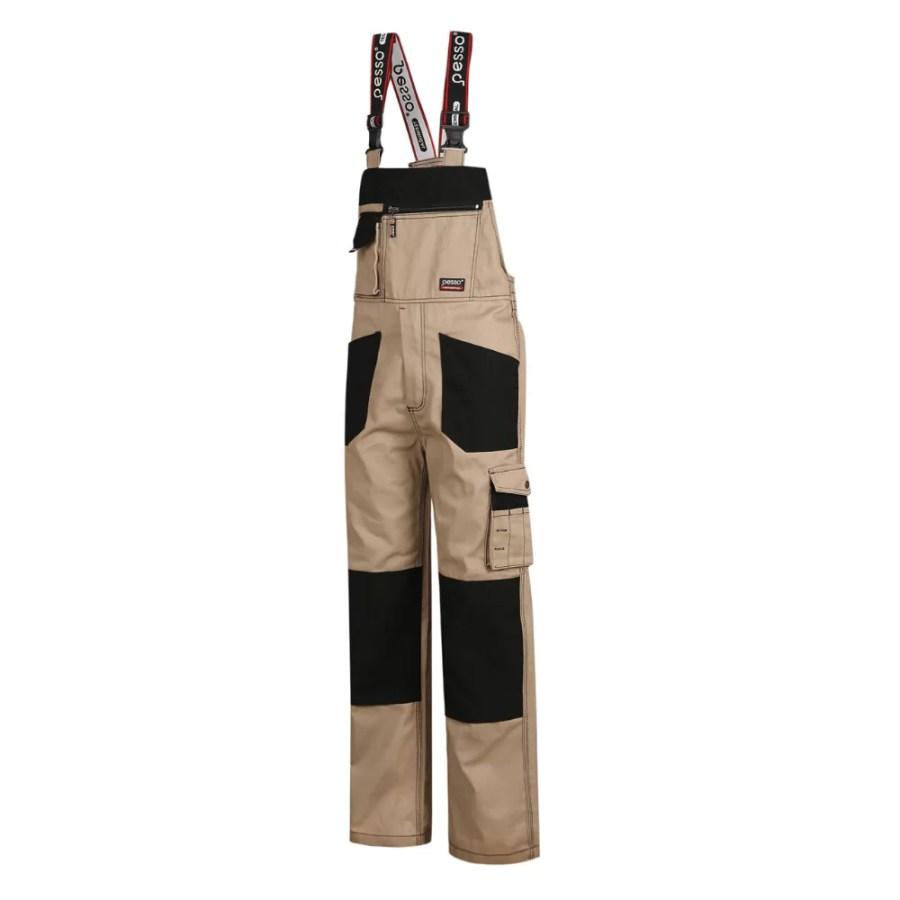 Workwear bibpants Pesso DPBZ, CVC Twill, beige pessosafety.eu