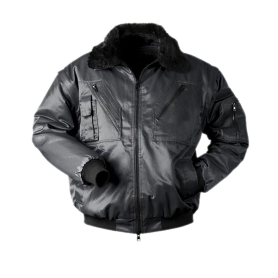 Short winter work jacket with the detachable sleeves Pesso Pilot black pessosafety.eu