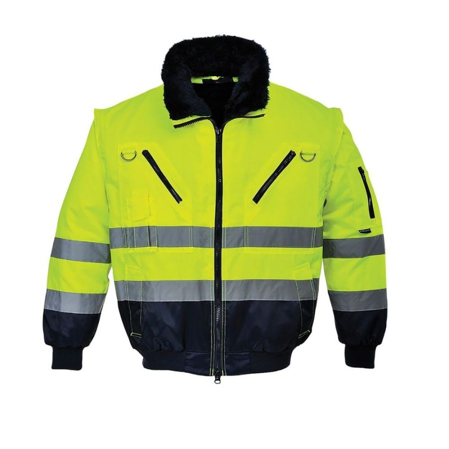 Short winter work jacket with the detachable sleeves Pesso Pilot yellow navy pessosafety.eu
