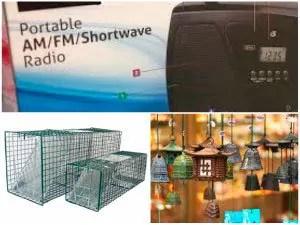 Portable radio, live traps, wind chimes
