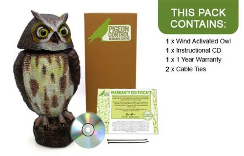 Wind Powered Plastic Action Owl Decoy
