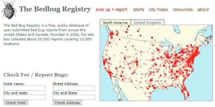 The Bedbug Registry Screenshot