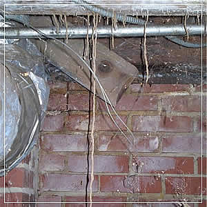 Picture of termite tubes hanging from floor joists in this homes crawl space.