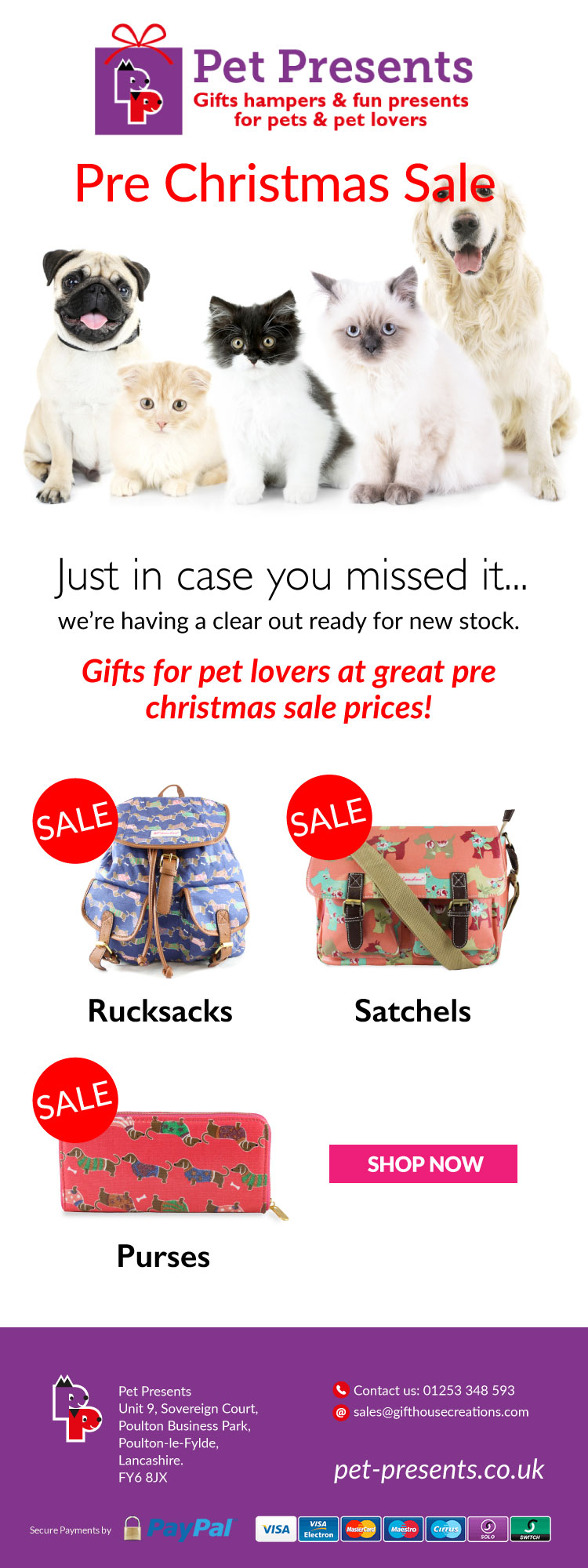 Pre Christmas Sale Items From Pet Presents.