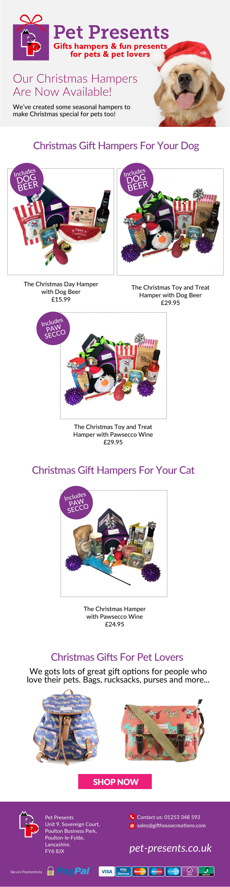 The Christmas Day Hamper For Dogs with Dog Beer.