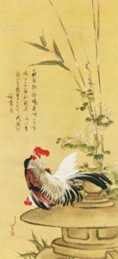葛飾北斎 鶏竹図
