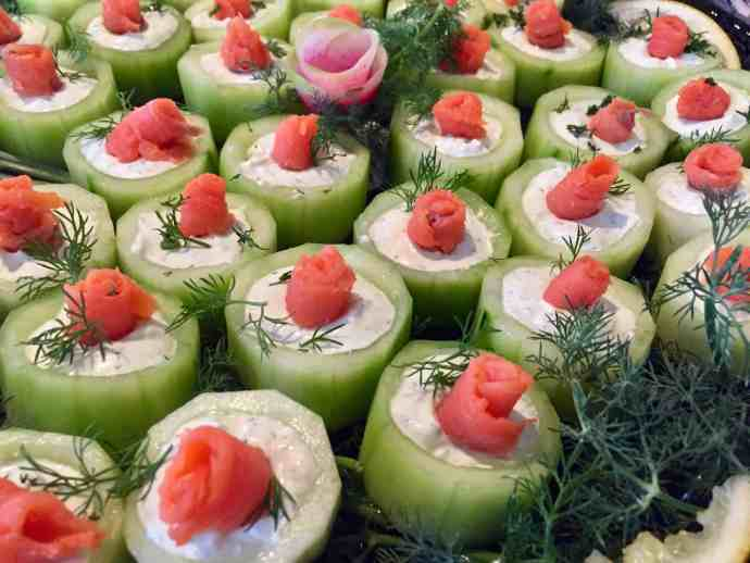 appetizer, cucumbers, salmon