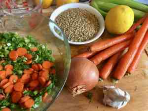 vegetables, lentils, soup