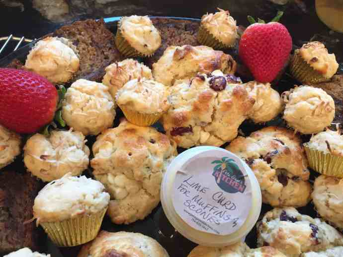 baked goods, banana bread, muffins, scones, lime curd