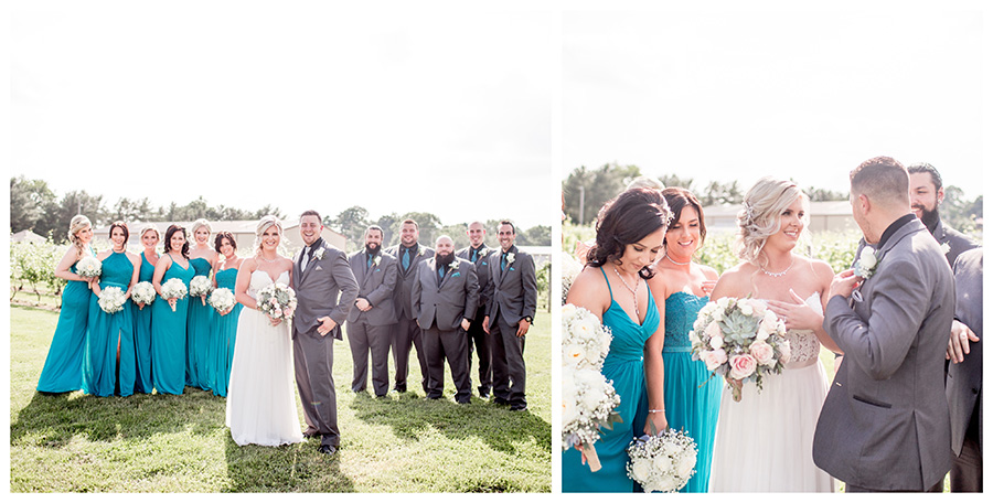 wedding party portraits in the vineyard