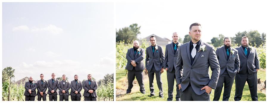 groom taking portraits with his groomsmen