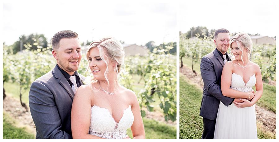 bride and groom do portraits together