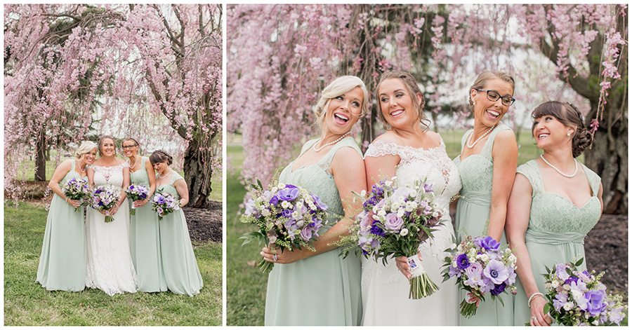 bridesmaids in pale green dresses with purple bouquets