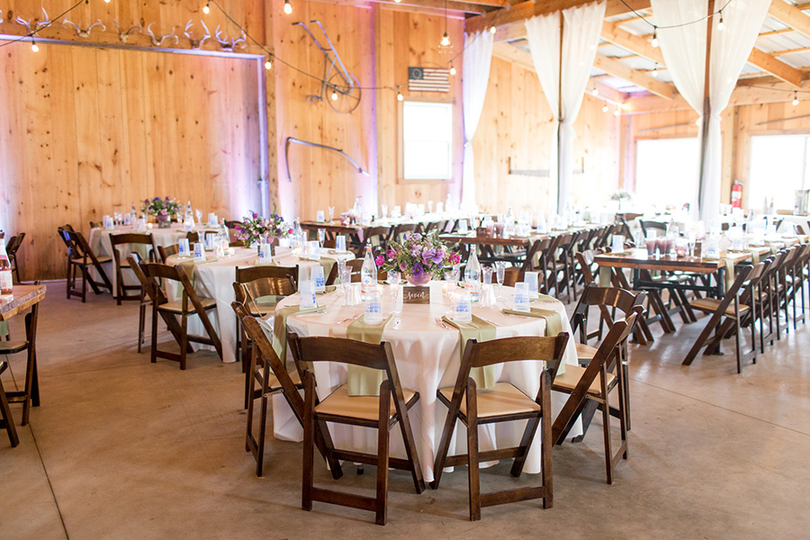 tables set up for the wedding reception at Warner Road Farm