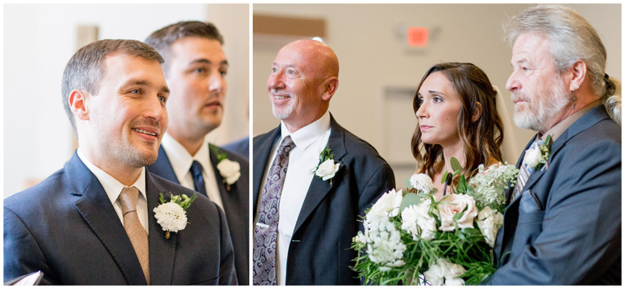 bride walks down the aisle with her fathers