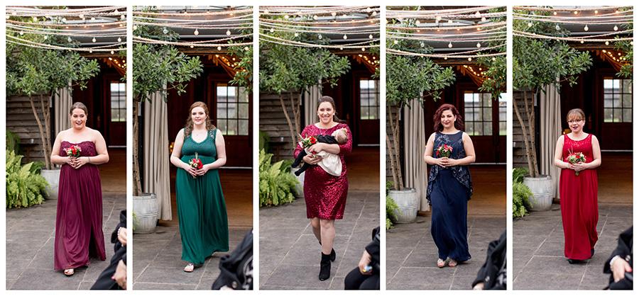 bridesmaids walk into greenhouse at terrain at styers