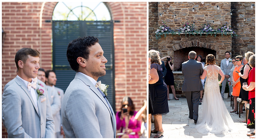 outdoor wedding ceremony in the courtyard of the madison riverside