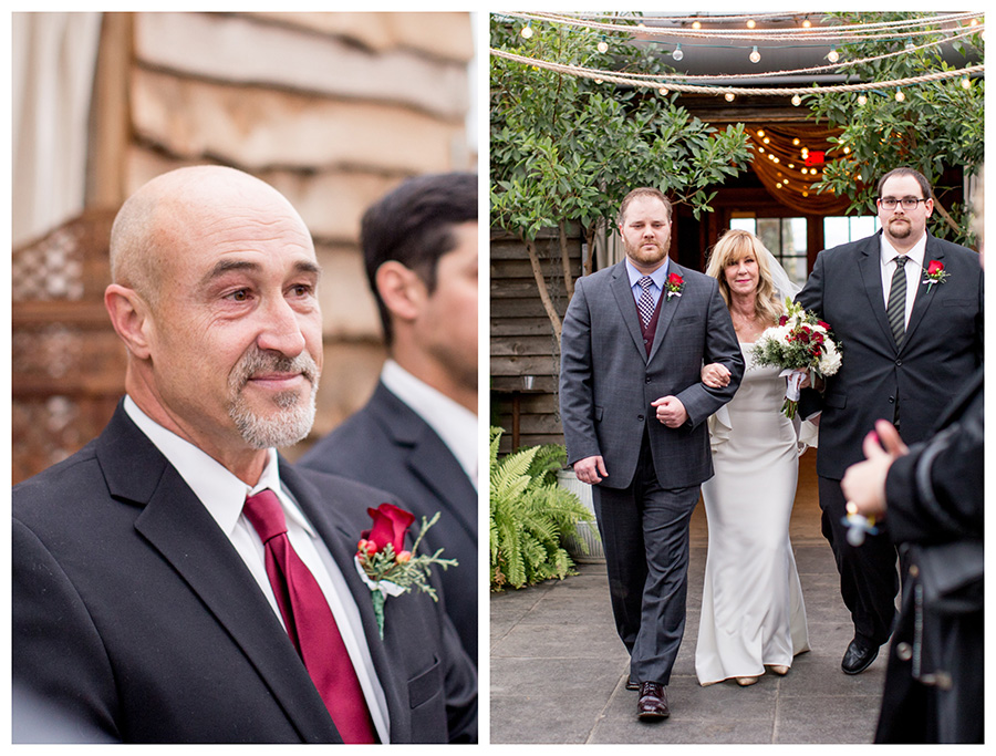 groom's reaction as bride walks down the aisle