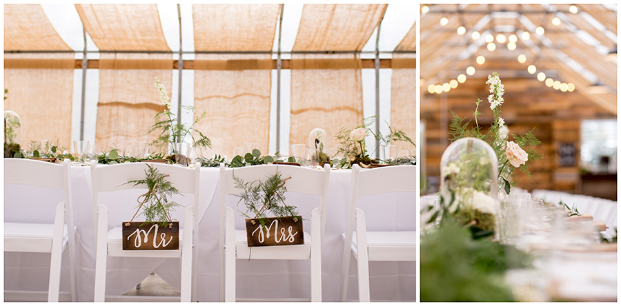 reception inside greenhouse at bast brothers