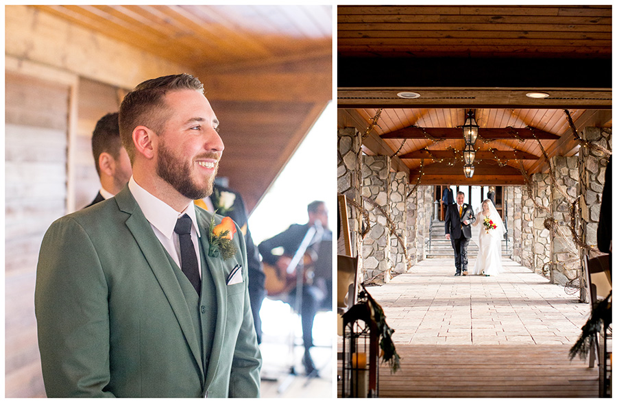 Groom watches bride walk down the aisle at the Lawnhaven venue
