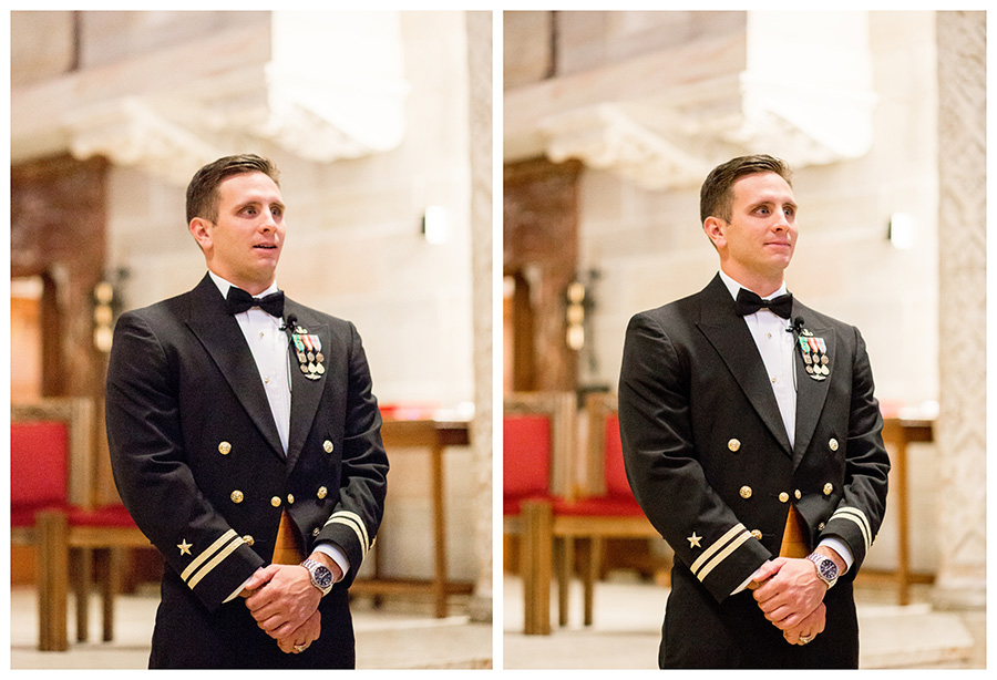 groom's first look at his bride during st anthony of padua wedding ceremony