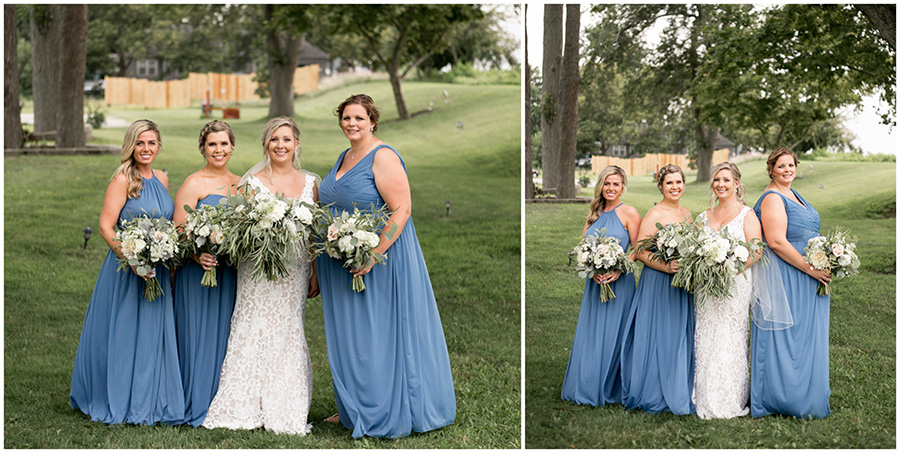 bridesmaids in light blue bridesmaid gowns