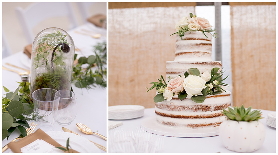 naked cake decorated with fresh flowers