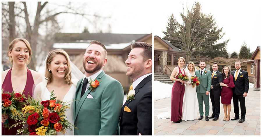 wedding party outside venue with green and cranberry accents