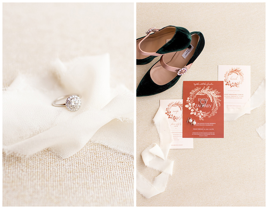 Rust colored wedding invitation and green velvet shoes