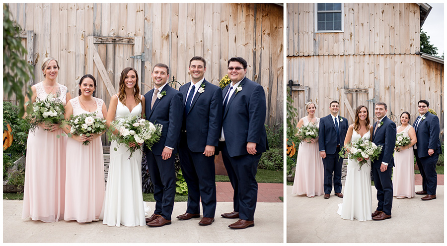 wedding party dressed in blush and navy