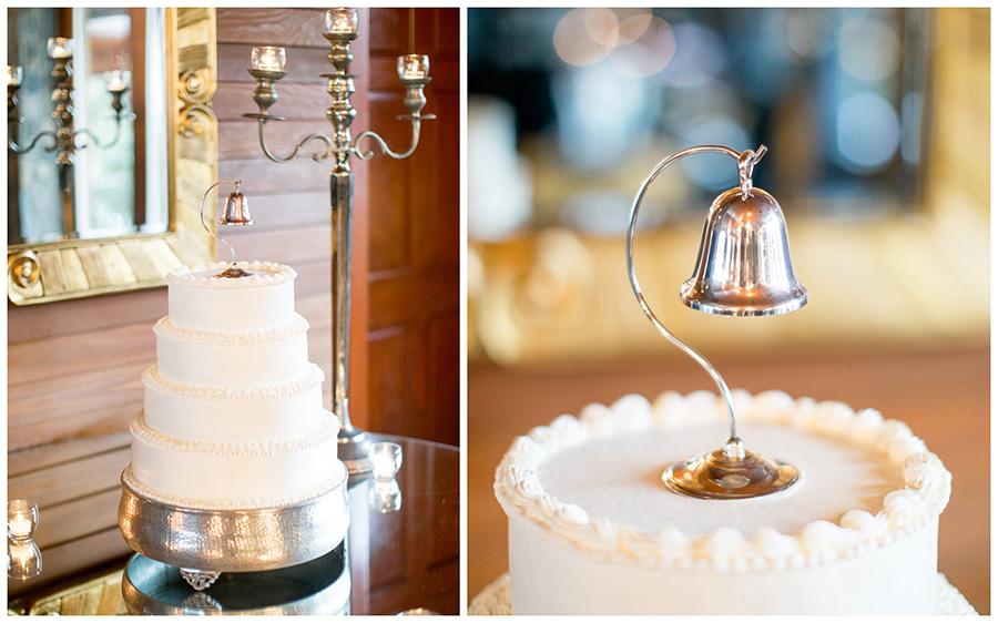vintage wedding bell on wedding cake
